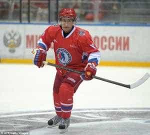 President Vladimir Putin joins ice hockey training session