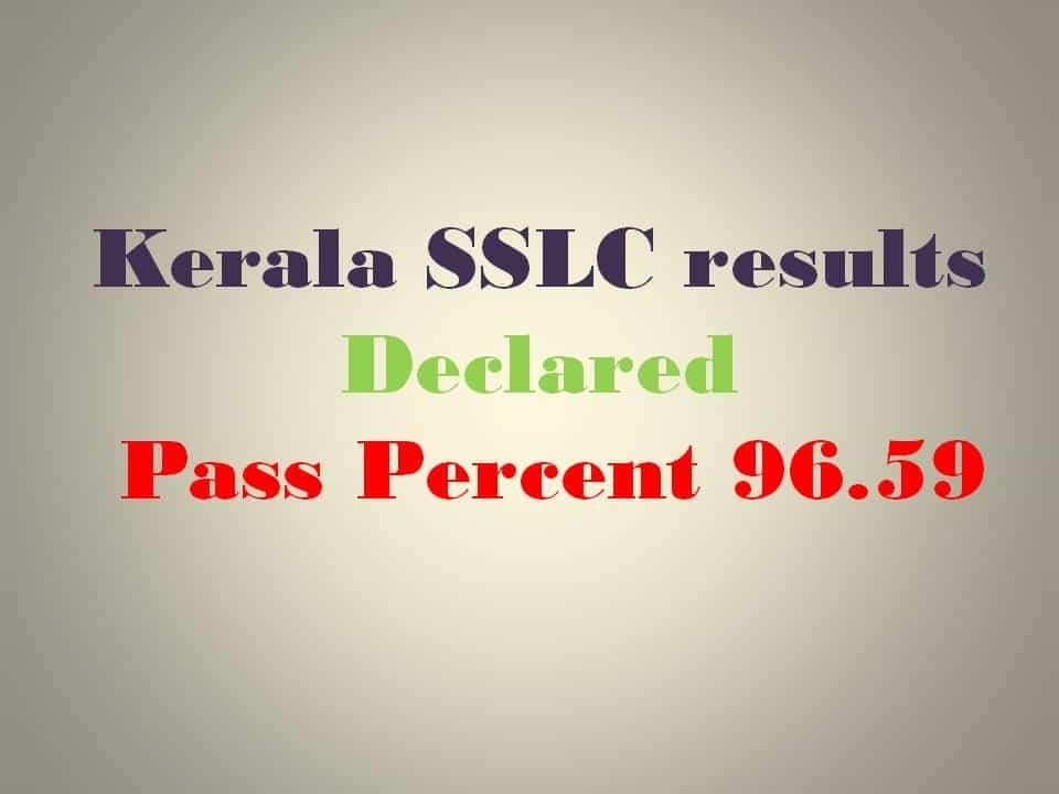 2016 Kerala SSLC results pass percent 96.59 declared
