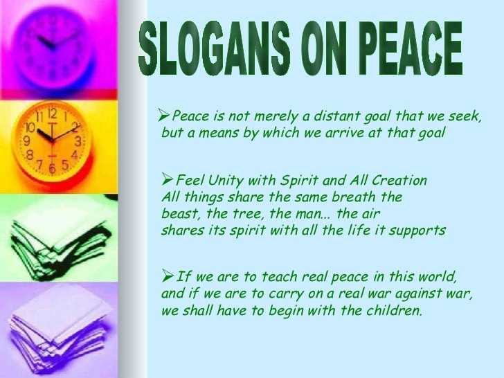 Slogans on Peace, Unity and Nonviolence on Earth on International Day of Peace 2017