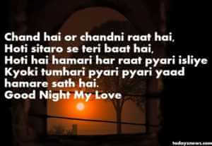 Romantic Good Night Shayari Collection for Boyfriend in Hind with Image